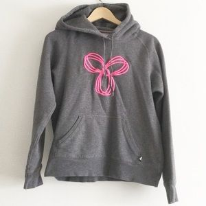 TNA Grey Hoodie with Pink Logo Size Large